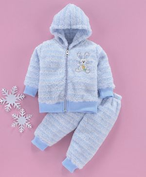 MFM Full Sleeves Winter Wear Hooded Sweat Jacket With Bottom Bunny Print - Blue