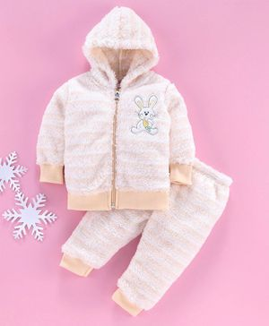 MFM Full Sleeves Winter Wear Hooded Sweat Jacket With Bottom Bunny Print - Cream