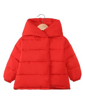 Awabox Solid Full Sleeves Hooded Jacket - Red