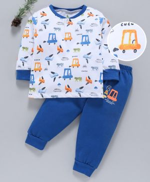 Cucumber Full Sleeves Tee & Lounge Pant Vehicle Print - White Blue