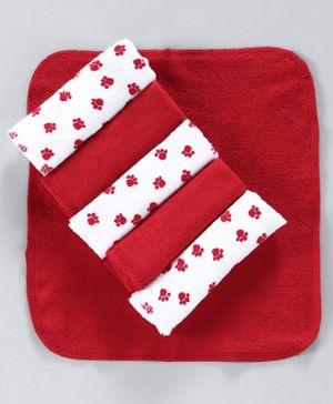 Babyhug Hand & Face Towel Printed & Solid Color Pack of 6 - Red White