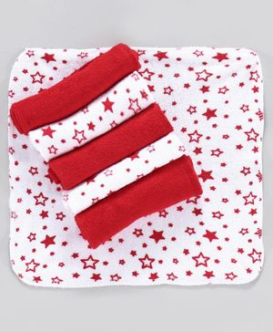 Babyhug Hand & Face Star Print Towel Pack of 6 - Red White