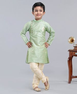 Dapper Dudes Full Sleeves Motif Embroidered Kurta With Pajama - Light Green