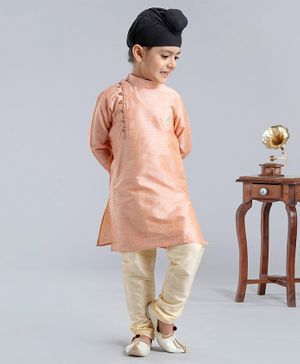 Dapper Dudes Full Sleeves Motif Embroidered Kurta With Pajama - Peach