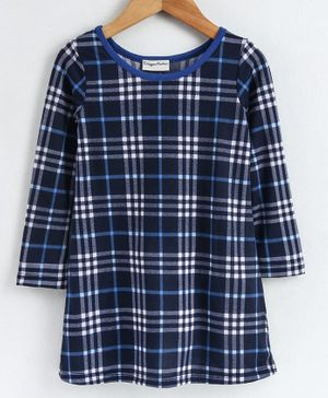 CrayonFlakes Full Sleeves Checked Dress - Blue