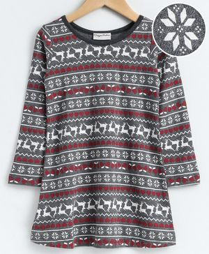 CrayonFlakes Full Sleeves Reindeer Print Dress - Grey