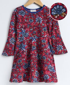 CrayonFlakes Full Sleeves Floral Print Dress - Red