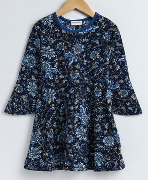 CrayonFlakes Full Sleeves Floral Print Dress - Blue