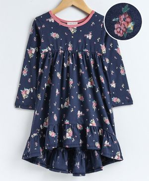 CrayonFlakes Full Sleeves Flower Print Dress - Blue