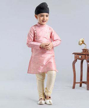 Dapper Dudes Full Sleeves Motif Embroidered Kurta With Pajama - Light Pink