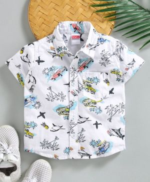 Babyhug Half Sleeves Shirt Allover Printed - White