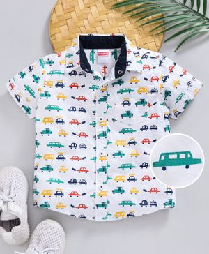 Babyhug Half Sleeves Shirt Car Print - White Green