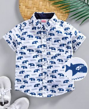 Babyhug Half Sleeves Shirt Shark Print - White Blue