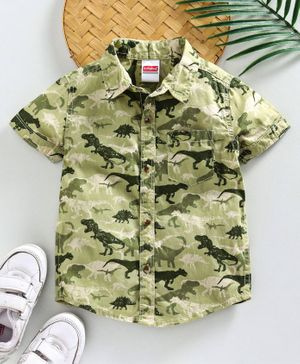 Babyhug Half Sleeves Shirt Dino Print - Green