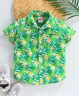 Babyhug Half Sleeves Shirt Leaf Print - Green