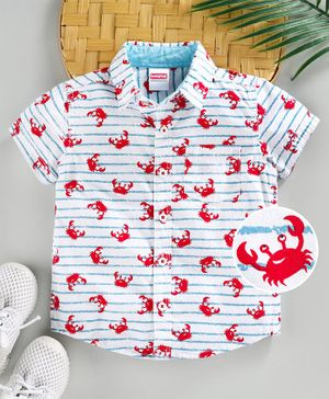 Babyhug Half Sleeves Shirt Crab Print - White