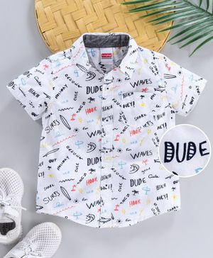 Babyhug Half Sleeves Shirt Text Print - White
