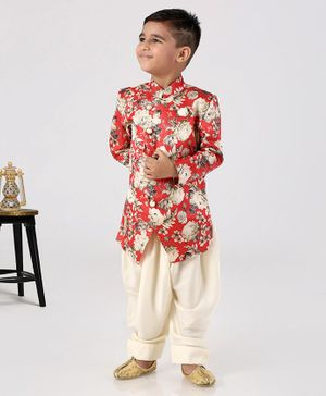 Ethnik's Neu-Ron Full Sleeves Floral Printed Sherwani With Dhoti - Red White