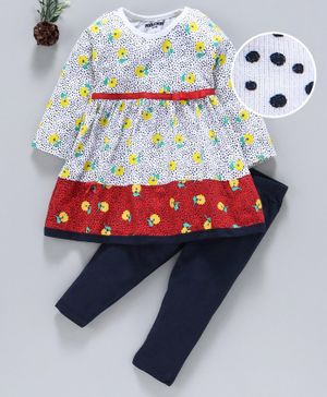 Cucumber Full Sleeves  Printed Frock With Leggings - Yellow Navy