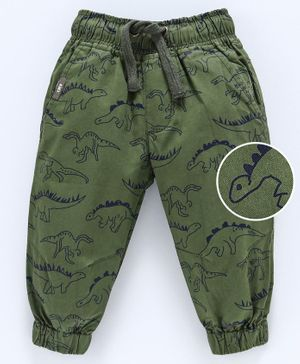 Cucumber Cotton Poplin Full Length Jogger Trouser With Drawstring Dino Print - Olive Green