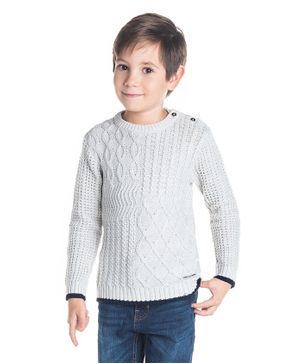 Cherry Crumble California Patrick Pattern Full Sleeves Sweater - Light Grey