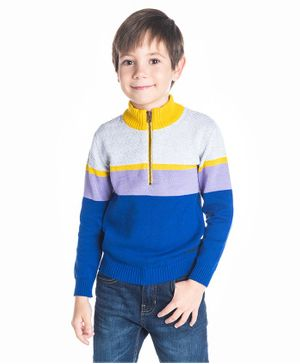 Cherry Crumble California Color Block Mock Neck Full Sleeves Sweater - Royal Blue & Mustard