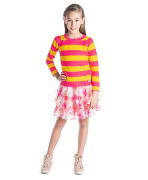 Cherry Crumble California Striped Full Sleeves Sweater - Pink & Yellow