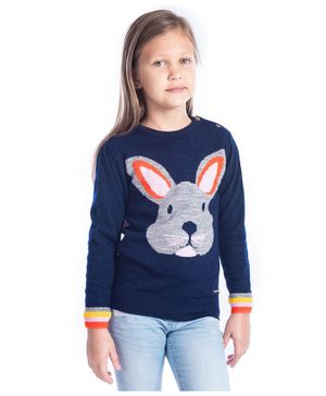 Cherry Crumble California Bunny Face Design Full Sleeves Sweater - Navy Blue