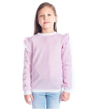Cherry Crumble California Solid Ruffled Full Sleeves Sweater - Pink