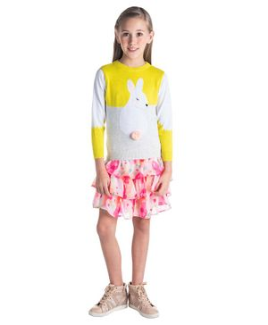 Cherry Crumble California Bunny Patch Full Sleeves Sweater - Yellow & Grey