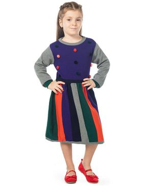 Cherry Crumble California Pom Pom Detailed Full Sleeves Striped Sweater Dress - Multi Color