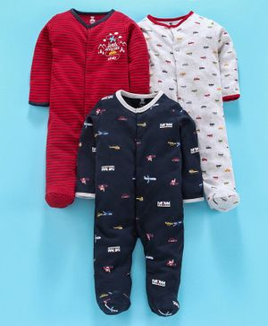 I Bears Full Sleeves Footed Romper Pack of 3 - Red Navy Blue White