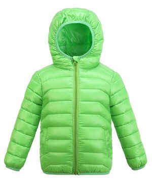 Awabox Full Sleeves Solid Hooded Jacket - Green