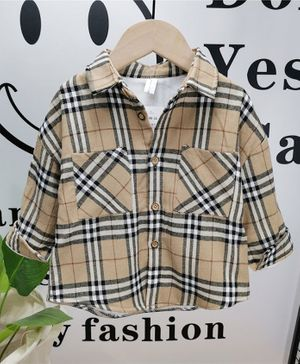 Pre Order - Awabox Checkered Front Button Full Sleeves Shirt - Brown