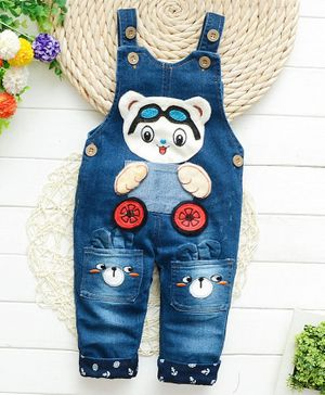 Pre Order - Awabox Bear Patch Detailed Sleeveless Dungaree - Blue