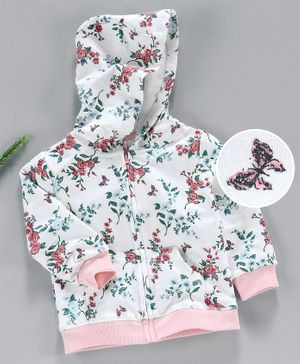 Yiyi Garden Full Sleeves Hooded Sweat Jacket Floral Print - White