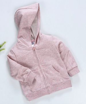 Yiyi Garden Full Sleeves Hooded Solid Sweat Jacket - Pink