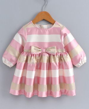 Babyoye Full Sleeves Striped Poly Cotton Frock With Bow Motif - Pink Golden
