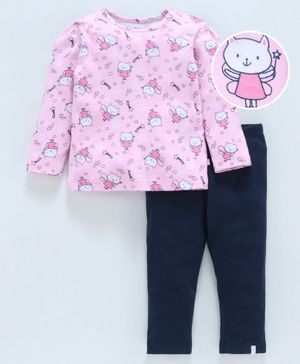 Babyoye Full Sleeves Cotton Tee And Lounge Pant Kitty Print - Pink Navy Blue