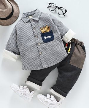 Kookie Kids Full Sleeves Winter Wear Striped Shirt & Lounge Pant - Grey