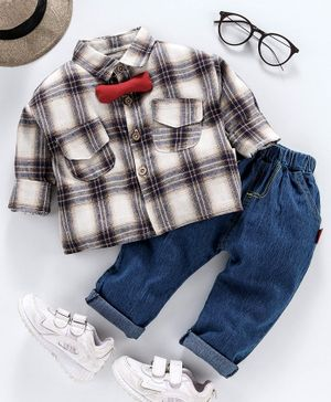 Kookie Kids Full Sleeves Checks Shirt With Jeans - White