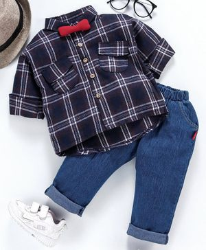 Kookie Kids Full Sleeves Checks Shirt With Jeans - Navy Blue