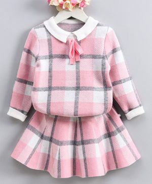 Kookie Kids Full Sleeves Plaid Sweater & Skirt Set - Pink