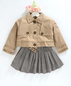 Kookie Kids Winter Wear Full Sleeves Jacket With Checks Skirt - Brown