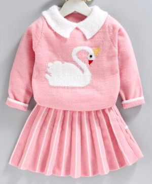 Kookie Kids Winter Wear Full Sleeves Top With Skirt Swan Print - Pink