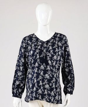 Kriti Full Sleeves Maternity Nursing Top Floral Print - Navy Blue