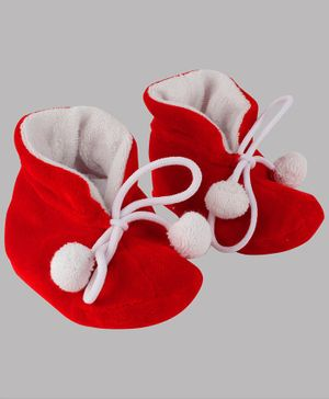 Daizy Pom Pom Booties - Red