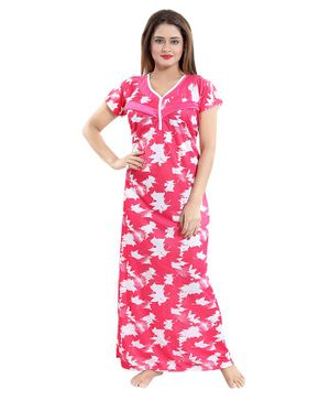 Fabme Autumn Leaves Print Half Sleeves Nursing Nighty - Pink