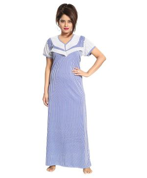Fabme Striped Half Sleeves Nursing Nighty - White & Blue