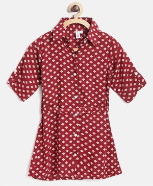 Kids On Board Half Sleeves Button Down Flower Print Dress - Red